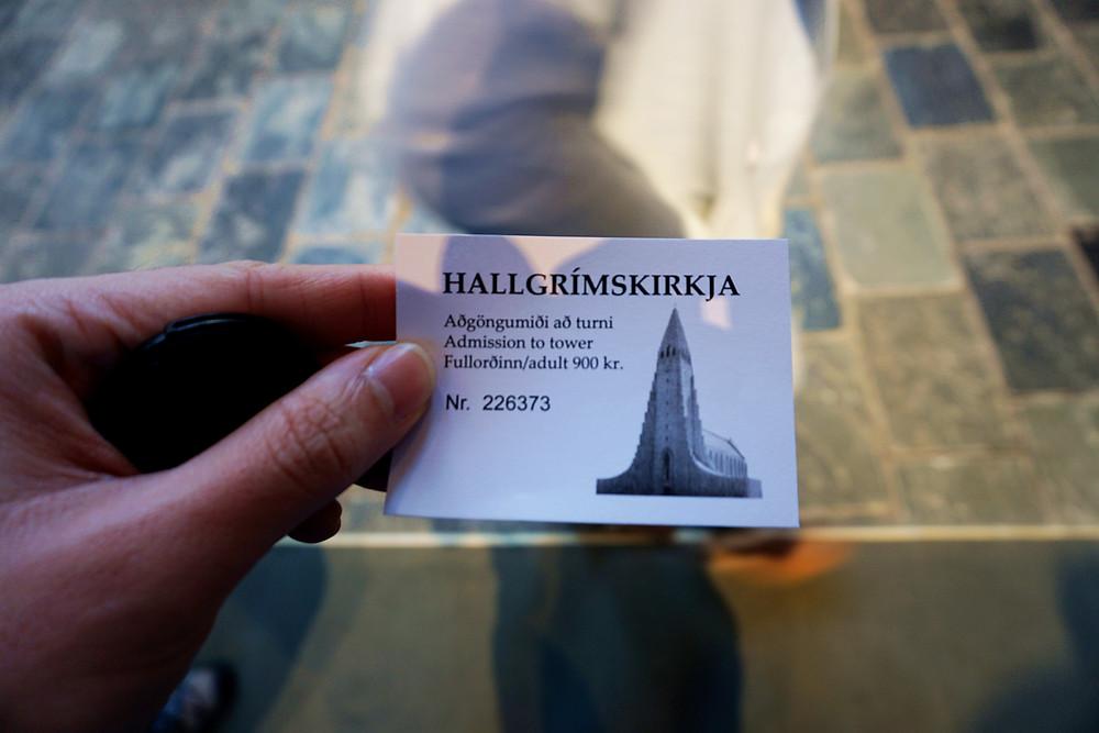 Elevator ticket to the top of Hallgrímskirkja.