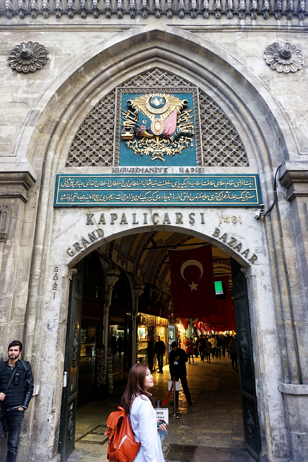 Ying Ying with the entrance to Grand Bazaar.