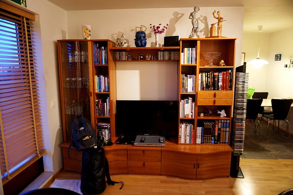 TV set and racks.