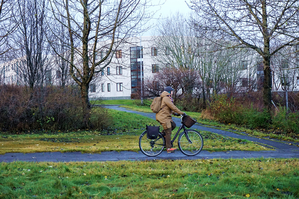Lots of cyclist around the city of Reykjavik.
