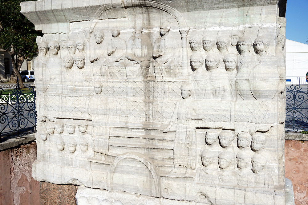 The emperor and his court (south face).