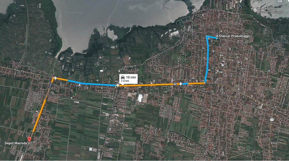 Google map direction from Probolinggo station to Depot Marinda.