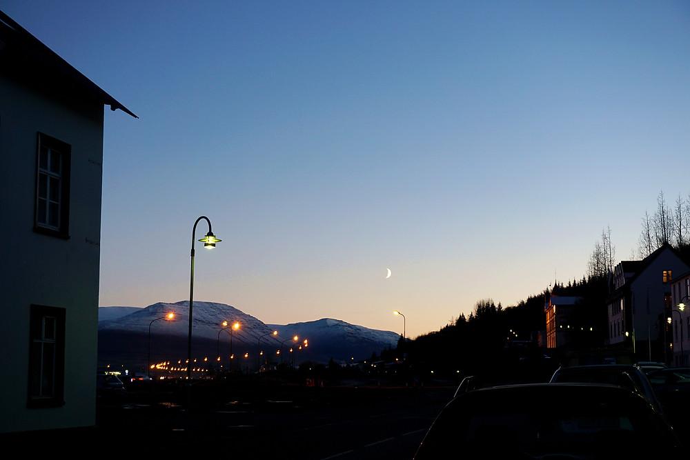 Visible moon at dawn.