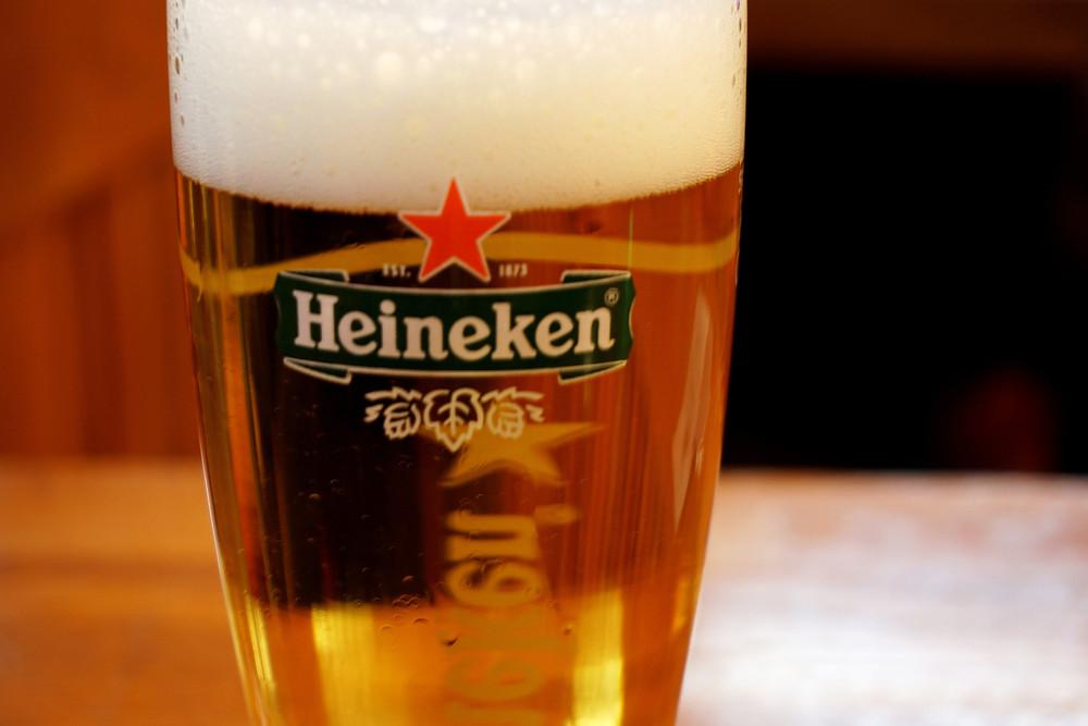 Freshly brewed extra cold Heineken.