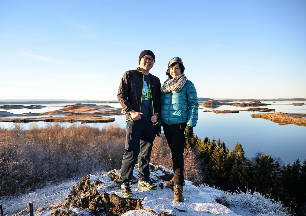 Me and Sue Hui via Myvatn Lake view. - Photo credited to Hybrid.