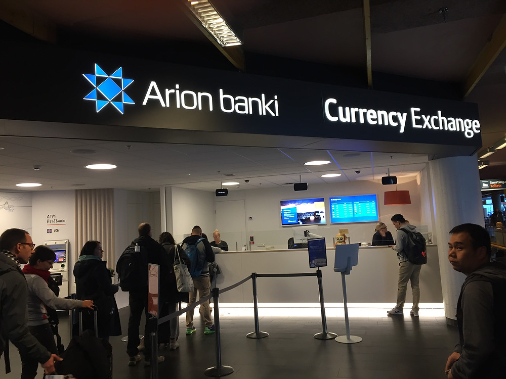 Money changer at Keflavik International Airport.