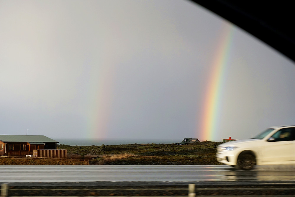 Double rainbow on our way back to Reykjavik~
