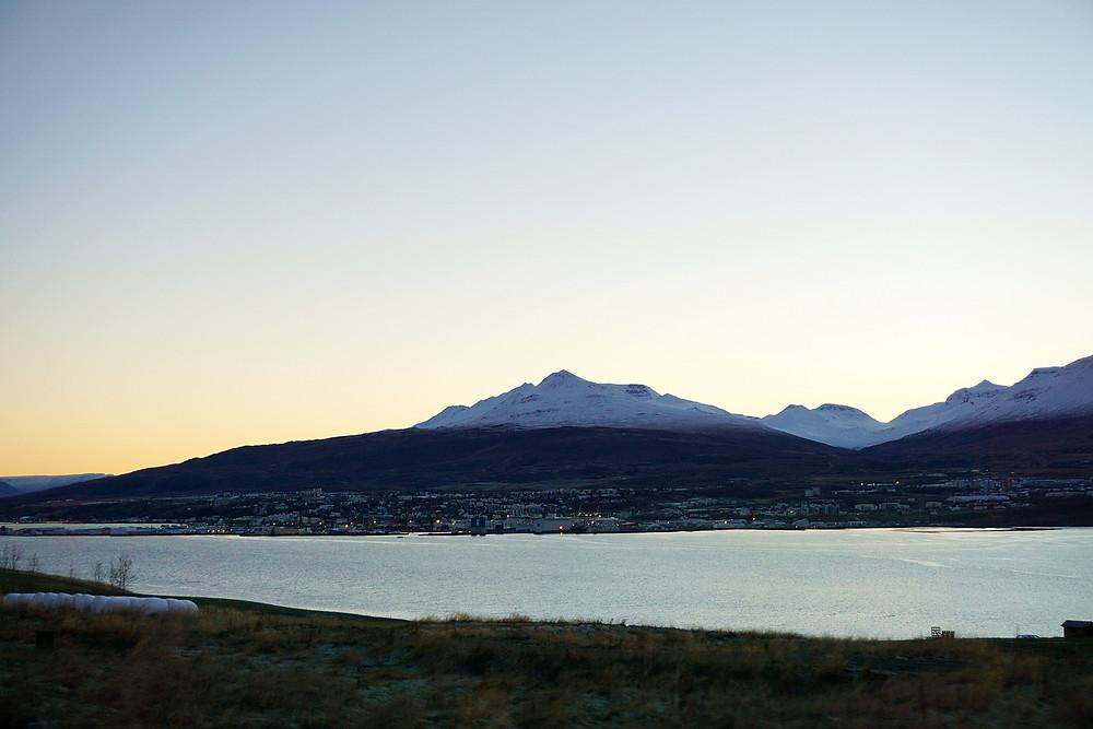 Akureyri town opposite of the fjord.