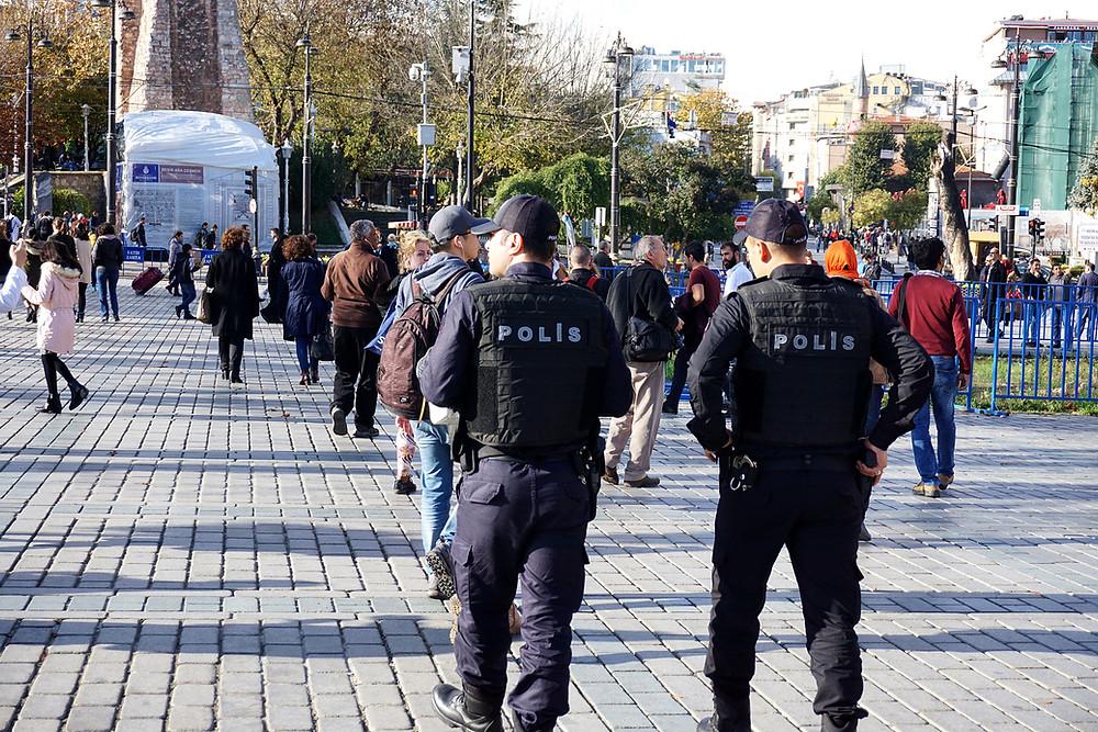 Turkish police wandering around the square.