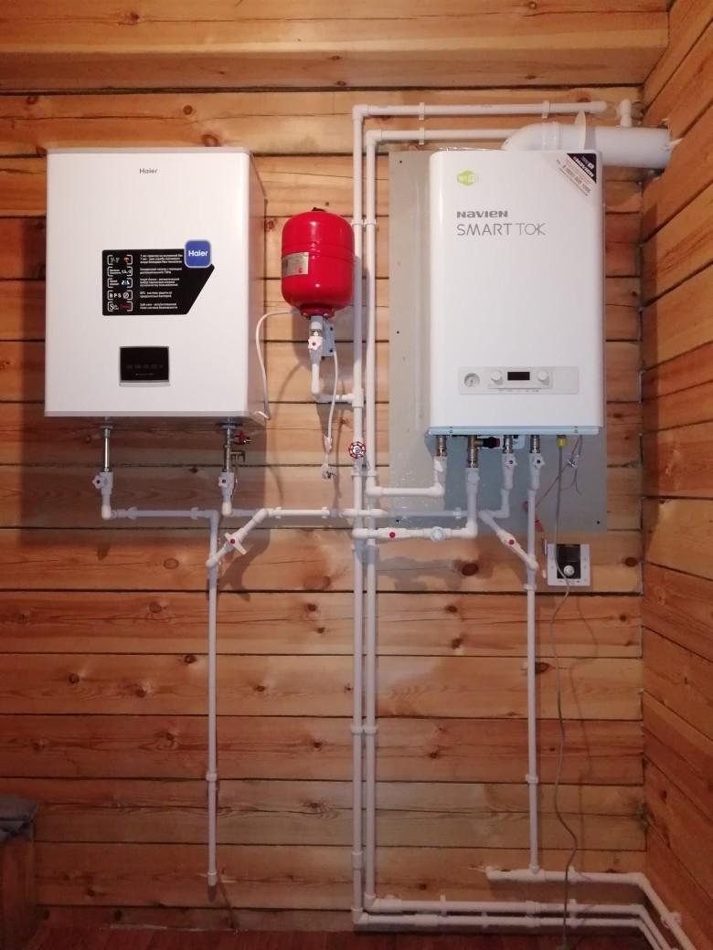 Вариант обвязки газового котла с одним высоко температурным контуром, там, где нет теплого пола и не большое количество радиаторов, циркуляционный насос газового котла справляется с объёмом перегоняемого теплоносителя в системе отопления.