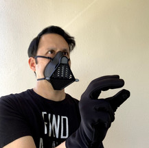 Vader Themed Mask in Carbon Fiber and Black ABS