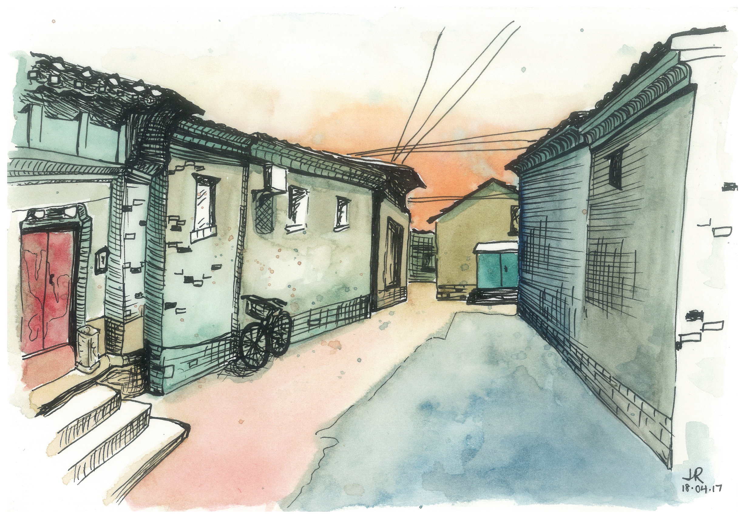 dongcheng hutong at dusk