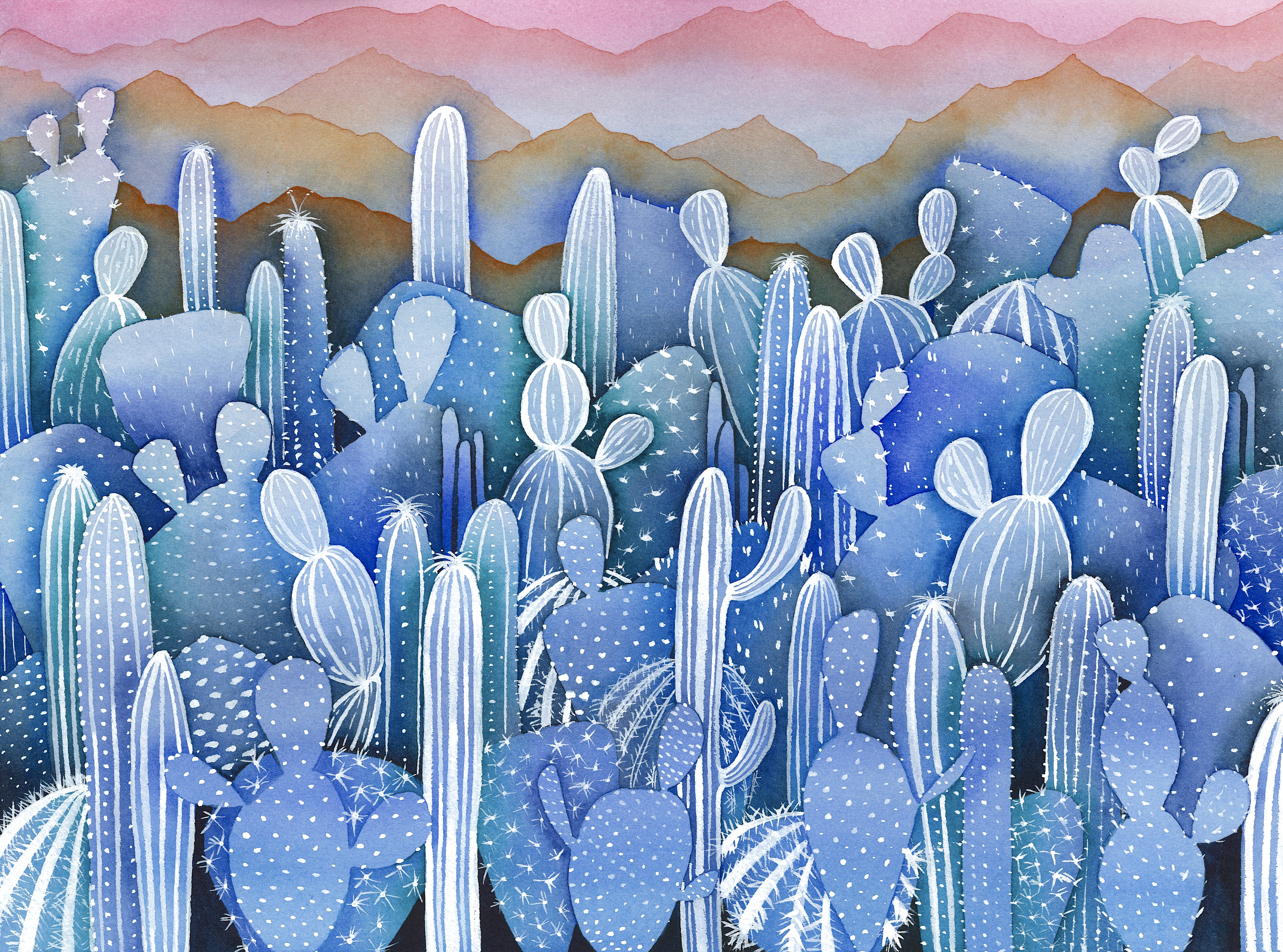 blue cacti forest