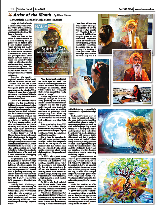 Sarasota News about Artist Nadja Marks-Shafton