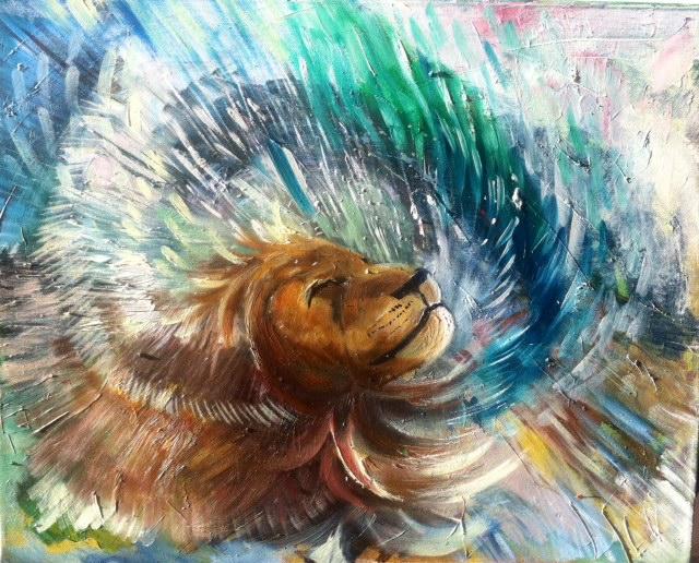 lion shaking mane