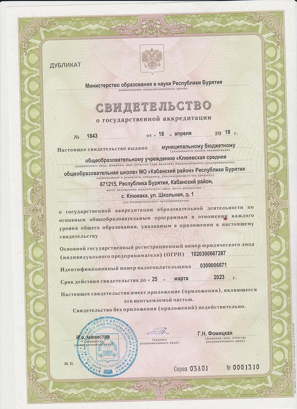 свидетельство о государственной аккредит