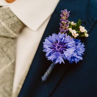 Cornflower buttonhole