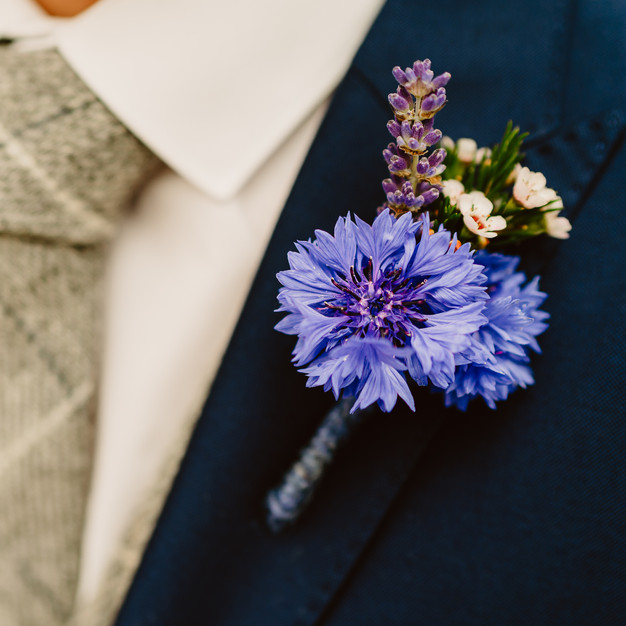 Cornflower buttonhole