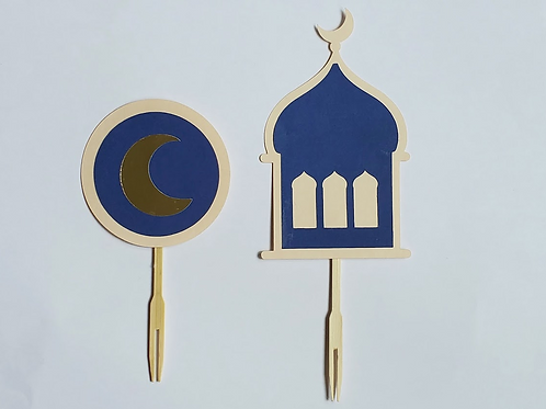 FT - Blue Mosque Cupcake Topper / Food Picks: