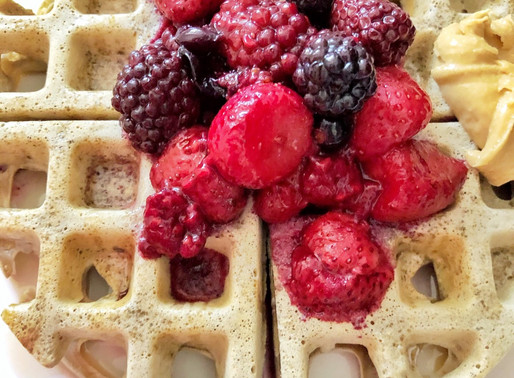 Whole Wheat Waffles With Berries, Nut Butter & Maple Syrup (Vegan): Recipe