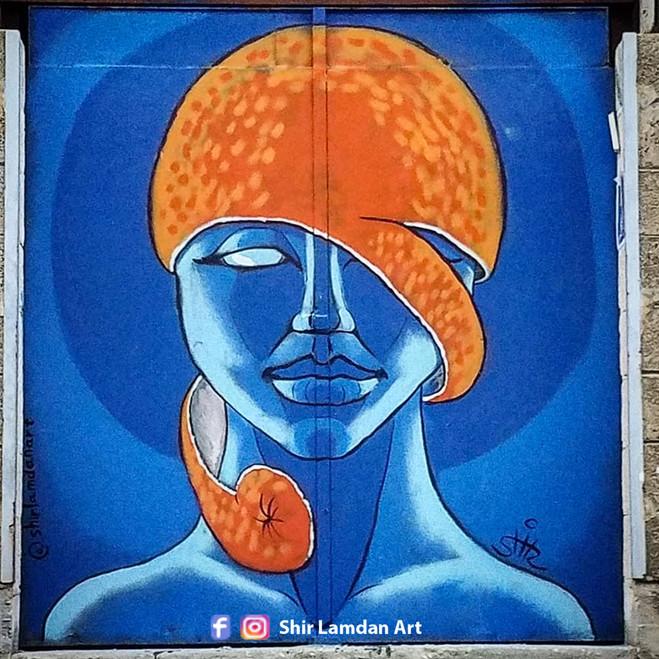 Orange in my mind. Free hand spray & acrylic. Shir Lamdan Kiryat Hamelaha. Tel Aviv