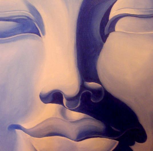 בודהה כחול שיר למדן שמן על בד  70x50 ס״מ 2012 נמכר Shir Lamdan oil on canvas  sold