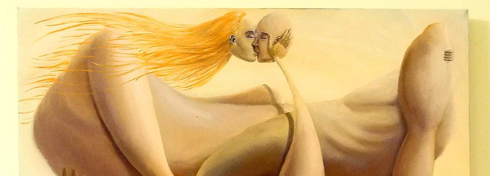 נשיקה שיר למדן שמן על בד  90x60 ס״מ 2017 למכירה Shir Lamdan oil on canvas 90 x60 cm for sale