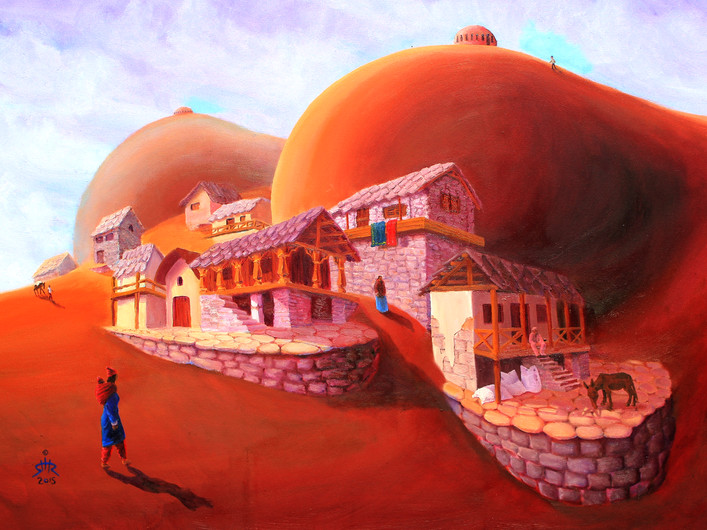 כפר בהרים שיר למדן שמן על בד  80x60 ס״מ 2015 למכירה Shir Lamdan oil on canvas 80 x60 cm for sale