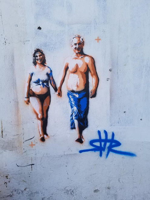 Hipie Bibi & Sara  Shir Lamdan Stencils & spray. Tel Aviv
