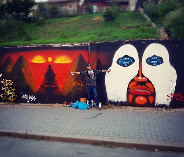 Meeiting Of Styls,  Graffiti festival,  Pristina, Kosovo  Shir Lamdan Free hand spray & acrylic. 2017