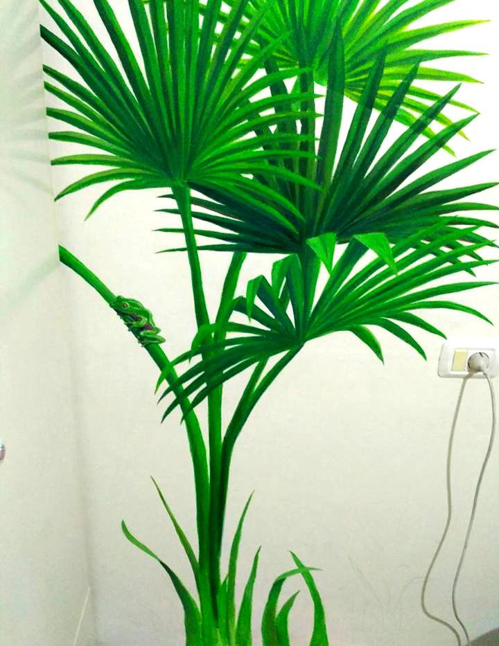 עלים טרופים  ציור קיר בצבעי אקריליק שיר למדן Shir Lamdan גודל: 1.5x1 מטר רמת פירוט:  גבוהה משך עבודה: יום  מחיר: 1000 ש״ח