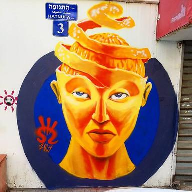 Orange in my mind. Shir Lamdan Free hand spray & acrylic. Kiryat Hamelaha. Tel Aviv