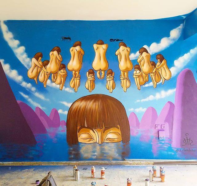 ציור קיר בפופאפ מוזיאון תל אביב שיר למדן Shir Lamdan ספריי ואקריליק גודל: 4.5x2.5 מטר רמת פירוט: בינונית משך עבודה: יום וחצי מחיר: 1800 ש״ח