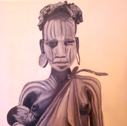 אמא אפריקאית שיר למדן שמן על בד 70x50 ס״מ 2010 נמכר Shir Lamdan oil on canvas  sold