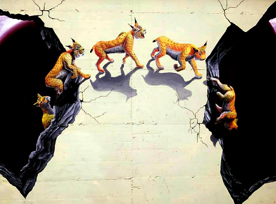 שונרים הולכים בין חורים בקיר ציור קיר תלת מימד בצבעים אקרילים גודל: 1.5x2 מטר רמת פירוט: בינונית משך עבודה: יום וחצי מחיר: 1800 ש״ח