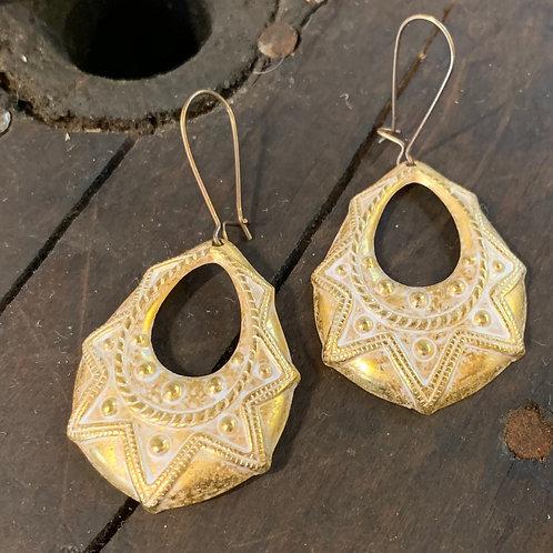 Gold White Patina Earrings