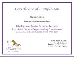 Certificate Phyciatric service Dog