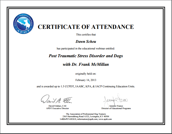 PTSD IN DOGS CERTIFICATE