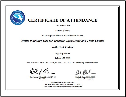 APDT Cert Polite walking