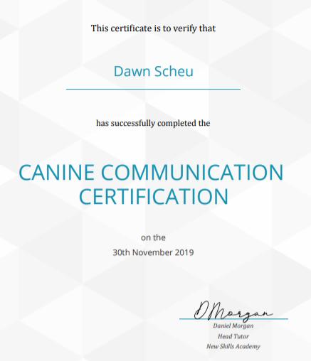 Canine Certification Certificate Landsca