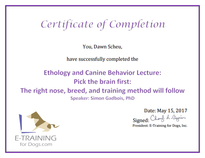 Right nose, breed & method certification