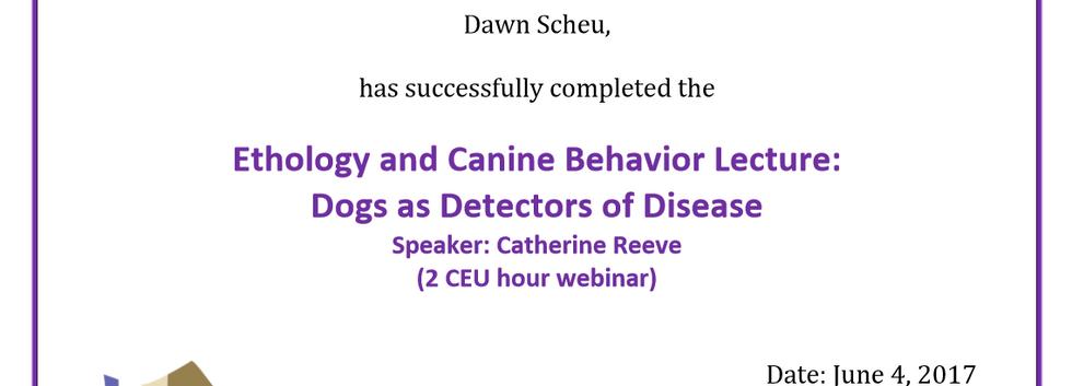 dogs as Desease detectors cert.PNG