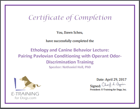 Certificate Pareing Pavlovian conditioning