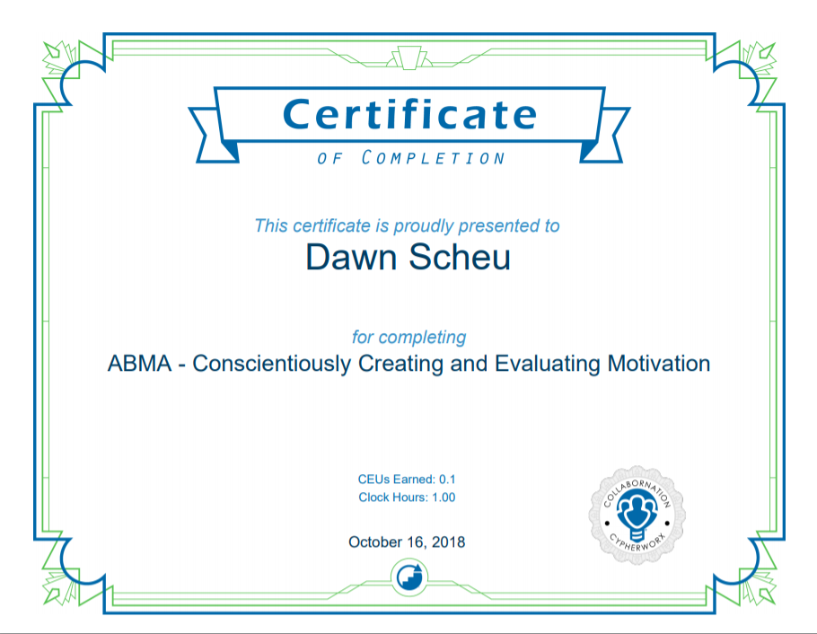 ABMA Motivation Certificate