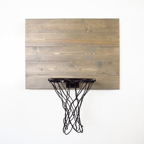 Weathered Grey Wood Basketball Hoop