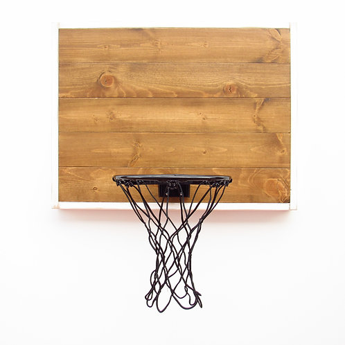 Wood Basketball Hoop With White Frame