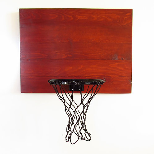 Mahogany Stained Wood Basketball Hoop with Black Rim