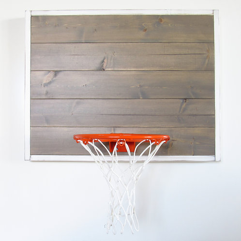 Distressed White Framed Weathered Gray Wood Basketball Hoop