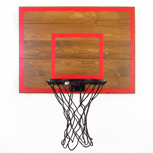 Brown and Red Indoor Wood Basketball Hoop