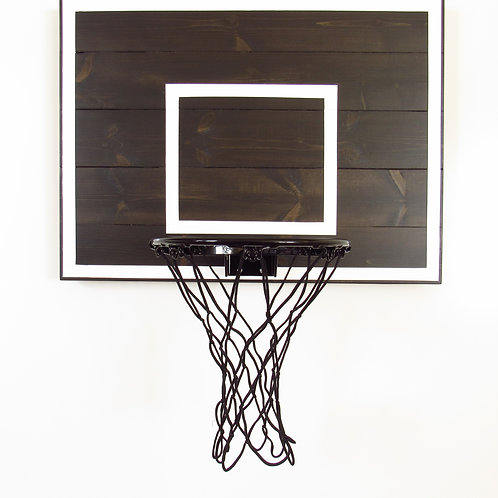 Black and White Wood Basketball Hoop